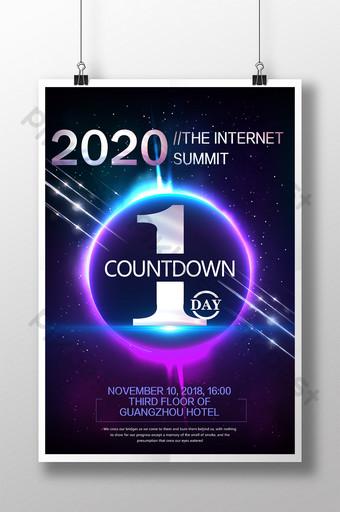 Plakat odliczający do konferencji internetowej Szablon PSD