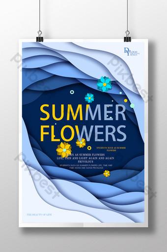 Плоская красивая жизнь, как летний цветок, креативный плакат шаблон PSD