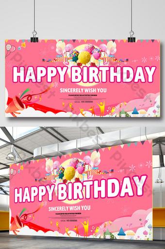 festa feliz com três palavras tridimensionais de aniversário Modelo PSD