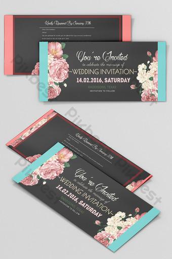 Carte d'invitation de mariage de mode noir Modèle PSD