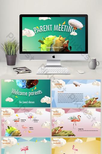Low-poly cartoon school season class parent meeting PPT template PowerPoint Template PPTX