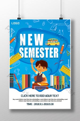 dibujos animados dibujados a mano temporada escolar diseño de cartel de matricula Modelo PSD