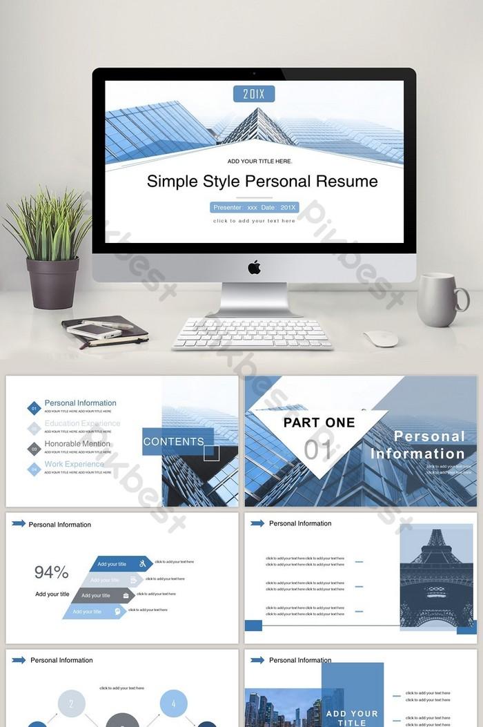 blue minimalist style job resume ppt template