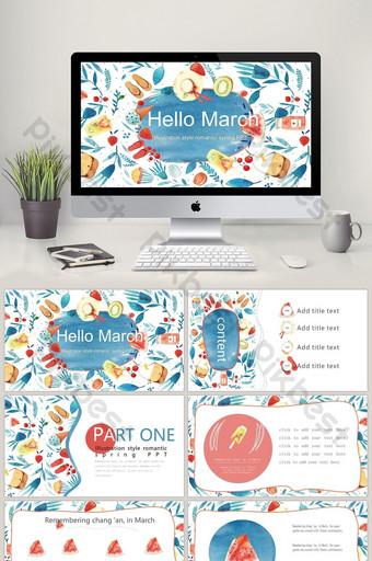 Marzec hello art small fresh illustration Broszura wiosna szablon PPT PowerPoint Szablon PPTX