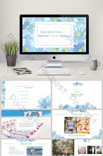 Dynamiczna akwarela piękny niebieski ślub wiosna kwiaty szablon PPT PowerPoint Szablon PPTX