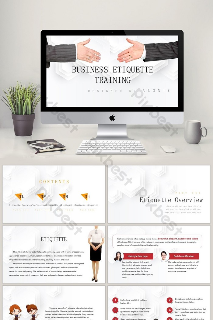 Business Etiquette Training Ppt Template Powerpoint Pptx