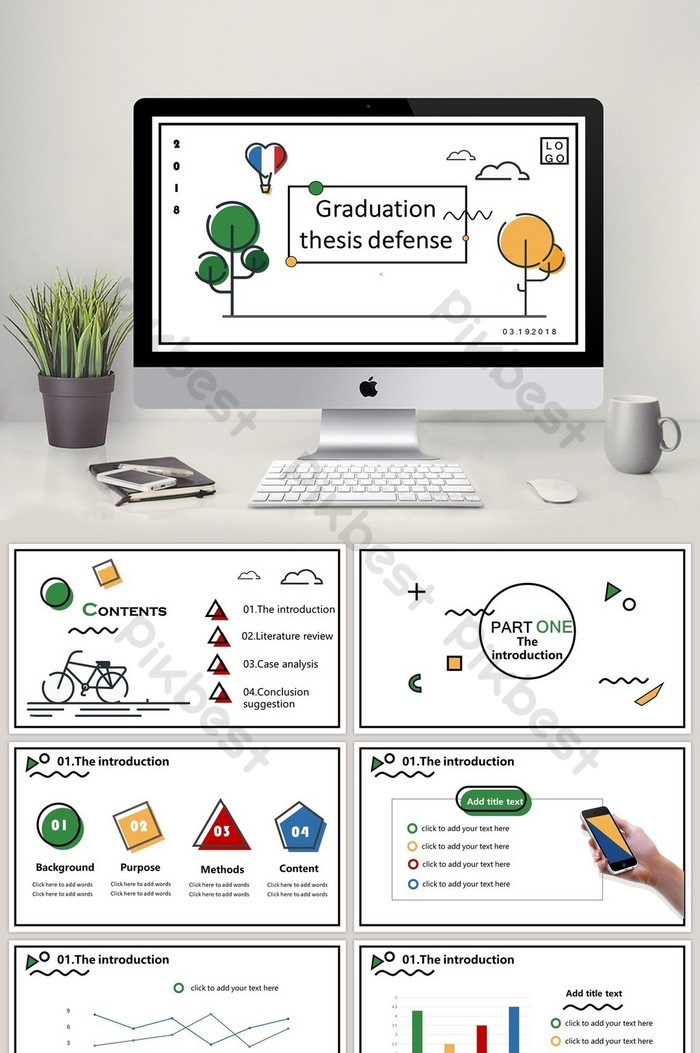 Simple Flat Dissertation Reply Ppt Template Powerpoint