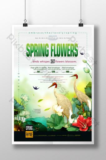 Vẽ tay minh họa mùa xuân hoa nở poster đẹp Bản mẫu PSD