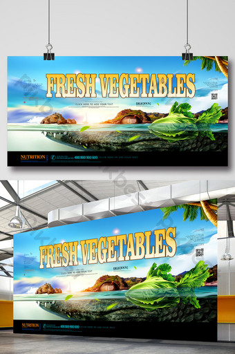 Fresh supermarket seafood and vegetables green food creative display board Template PSD