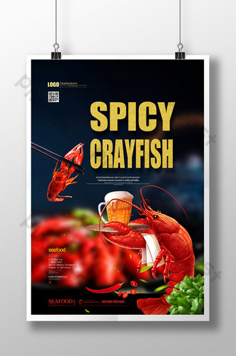 Spicy crayfish seafood food promotion creative poster Template PSD