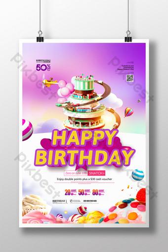 pôster promocional de bolo de feliz aniversário Modelo PSD