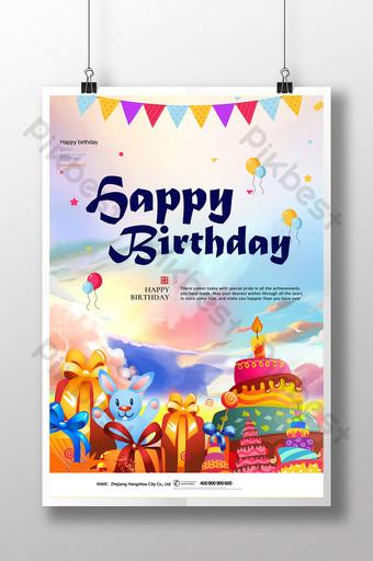 modelo de pôster de feliz aniversário colorido desenhado à mão Modelo PSD