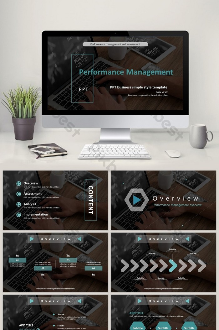 Black blue green performance management and assessment PPT template