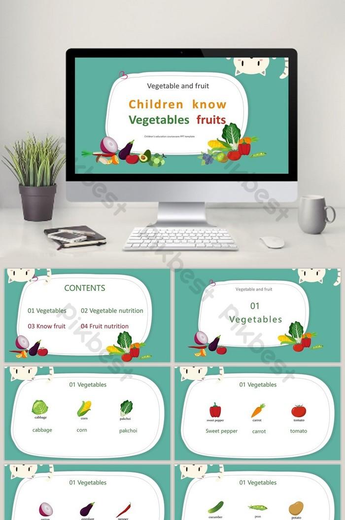 phim hoạt hình trẻ em màu xanh lá cây nhận biết rau và trái cây mẫu ppt