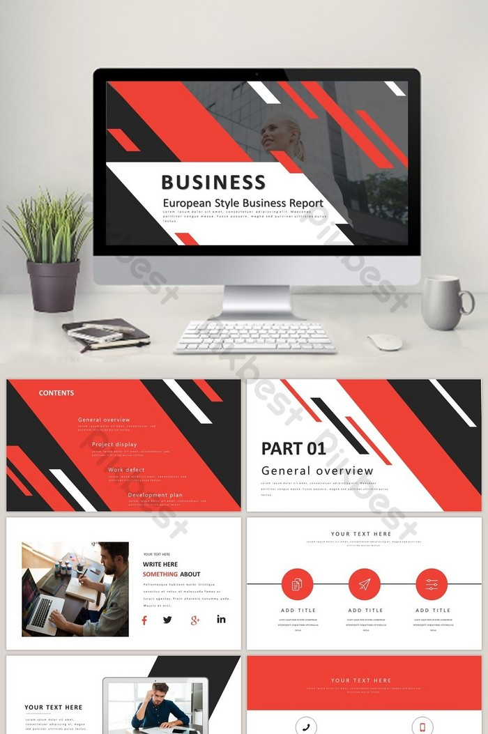 european and american style business report ppt template