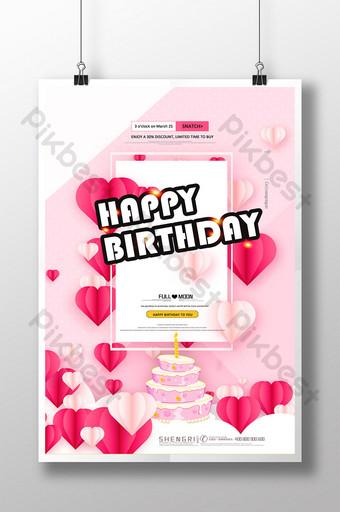 cartaz criativo feliz aniversário desenhado à mão bolo gourmet Modelo PSD