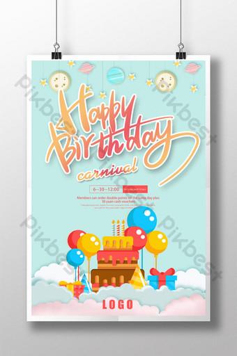 bonito desenhado à mão feliz aniversário bolo sobremesa comida pôster Modelo PSD