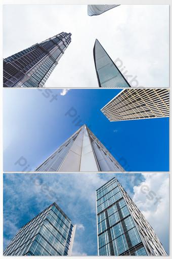صور المباني الشاهقة في المدينة الزرقاء التصوير قالب JPG