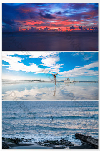Beautiful real shot seaside blue sky and white cloud background photography map Photo Template JPG