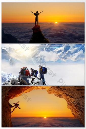 極限運動登上山頂 攝影圖 模板 JPG